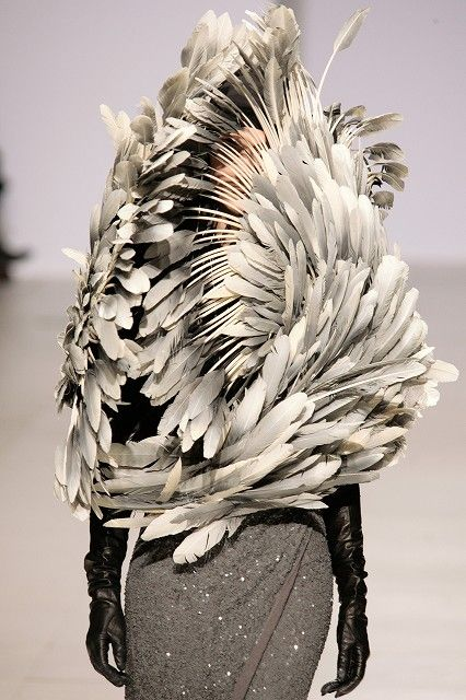 Peachoo, Krejberg. Autumn/Winter 2012. Concealing important features (face) You can see shapes within the feathers (swirling, circles)