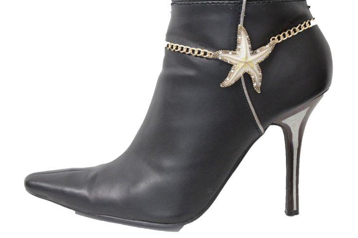 Women Western Boot Bracelet Gold Metal Chain Heels Shoe Star Fish Nautical Charm