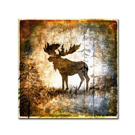 Trademark Fine Art 'High Country Moose' Canvas Art by LightBoxJournal, Size: 24 x 24, Yellow