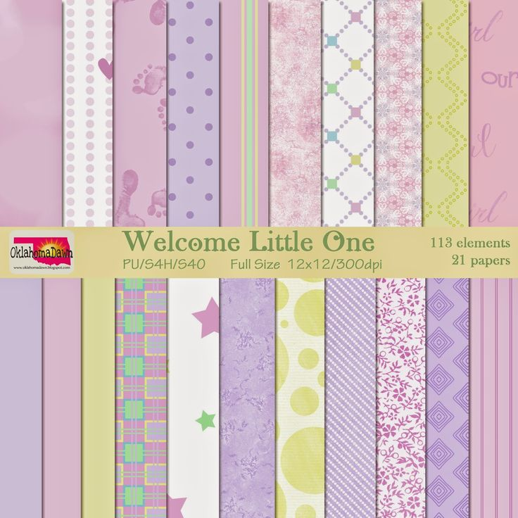 """OklahomaDawn: #Free Scrapbooking Kit - Welcome Little One (girl papers) ✿ Join 7,600 others. Follow the Free Digital Scrapbook board for daily freebies. Visit GrannyEnchanted.Com for thousands of digital scrapbook freebies. ✿ """"Free Digital Scrapbook Board"""" URL: https://www.pinterest.com/sherylcsjohnson/free-digital-scrapbook/ #digitalpaper"""
