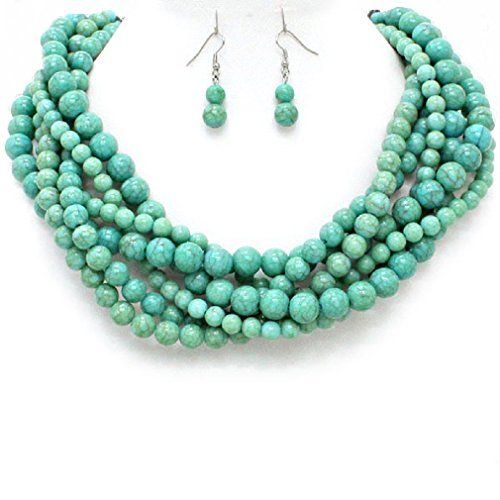 Statement Chunky Braided Strands Turquoise Stone Look Pearl Beads Necklace Earrings Set Gift Bijoux Affordable wedding jewelry, Esmor http://www.amazon.com/dp/B01BE6R88K/ref=cm_sw_r_pi_dp_330Zwb02P231M