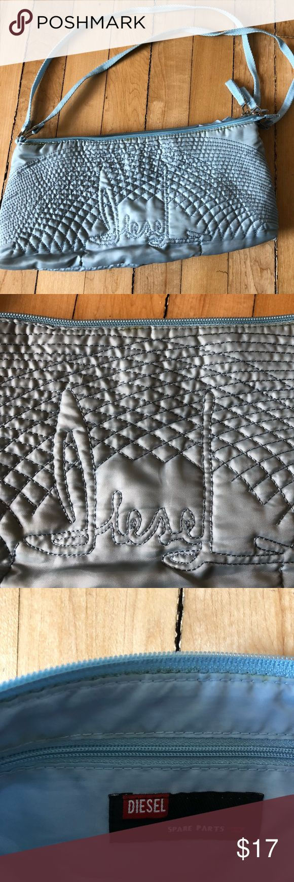 """Diesel handbag purse. Retro and cool! Diesel bag. Double zippers. Baby blue color. """"Diesel"""" embroidered on front. Faint marking across top near zipper. Refer to photos. See last photo for measurements. Definitely a fun bag!! Diesel Bags"""