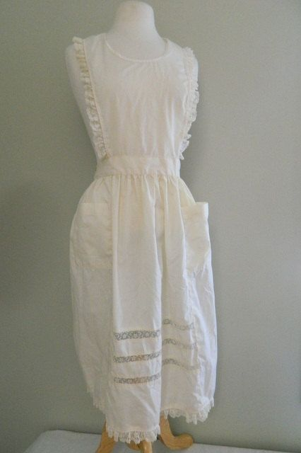 Vintage Apron / Cream and Lace Halter Apron / Naughty Housewife Vintage Lingerie by VintageBaublesnBits on Etsy
