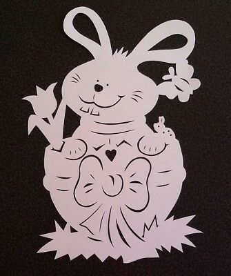 Fensterbild Tonkarton Filigran Frühling Osterhase