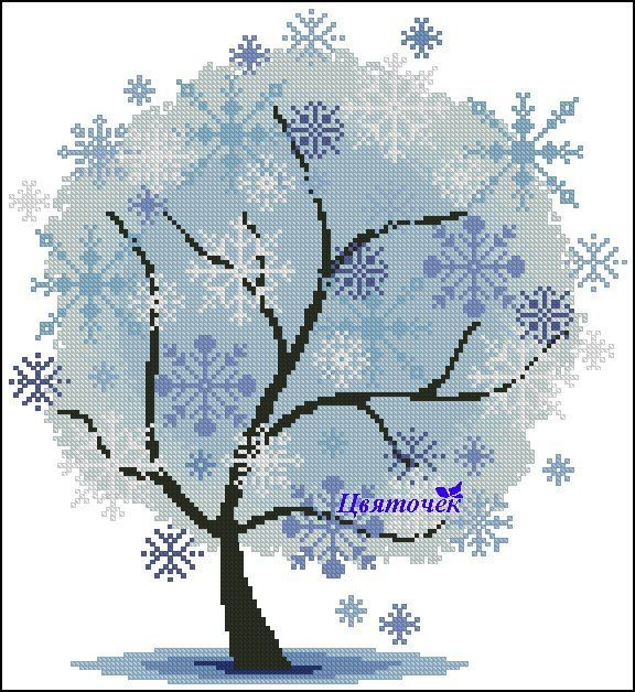 Cross stitch - flowers: tree - winter (free pattern with chart)