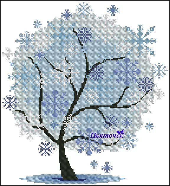 Cross stitch - flowers: tree - winter (free pattern with chart)