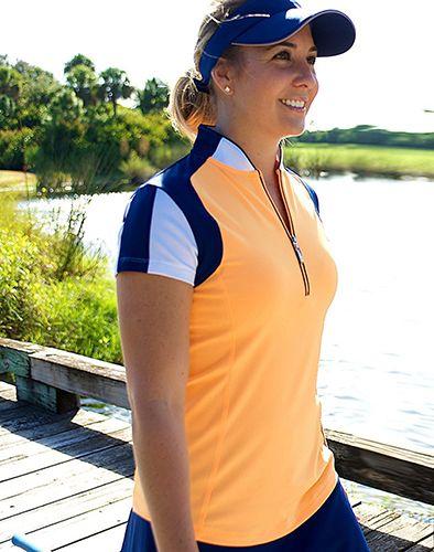 Bali  JoFit Ladies & Plus Size Oracle Short Sleeve Tangerine Golf Shirt at #lorisgolfshoppe
