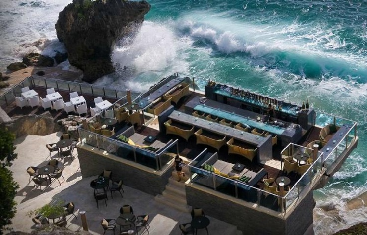 Have a drink with a 360 degree view of the sea at the Rock Bar, Ayana Resort