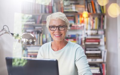Older employee at computer