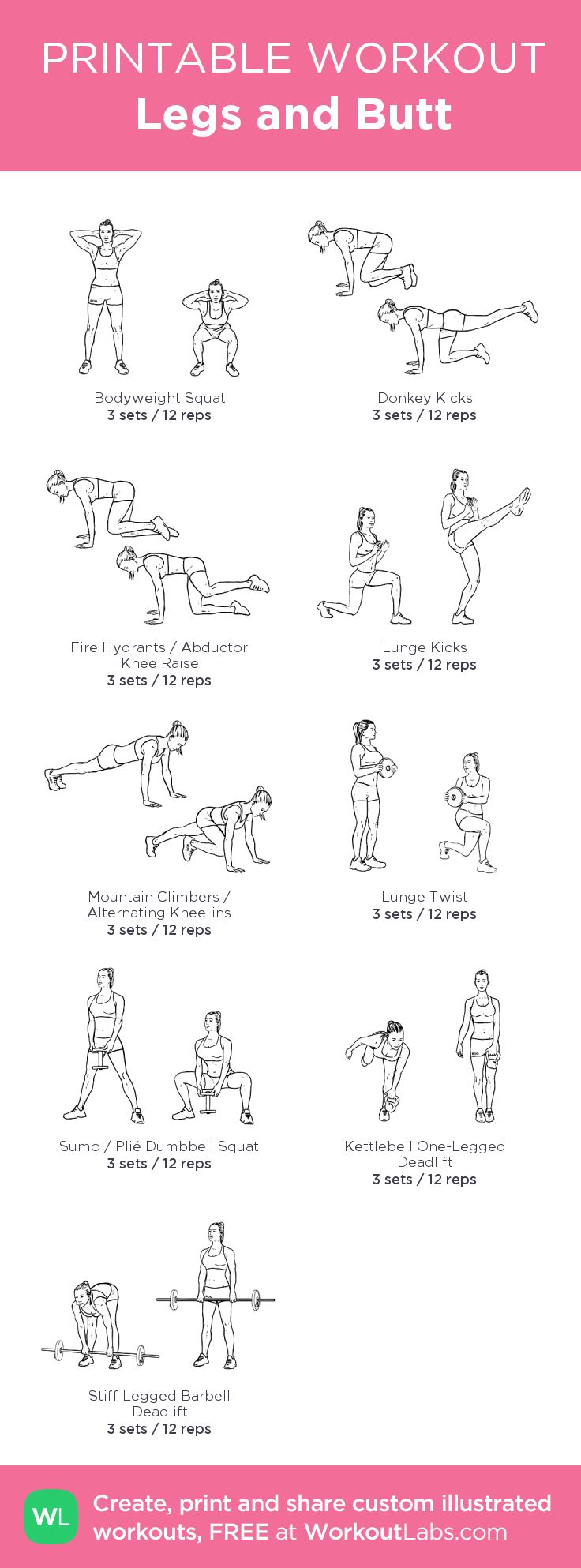 Legs and Butt – my custom workout created at WorkoutLabs.com • Click through to download as printable PDF! #customworkout