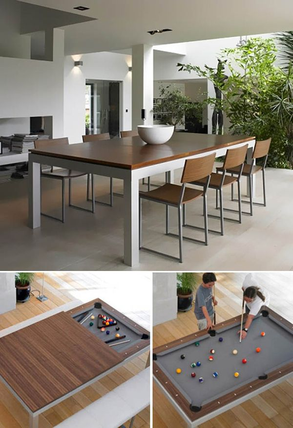 If you have always wanted a pool table but never really had much space, this is the perfect dining table for you. With the wooden cover, you can eat all you want. Take that off and now you can play pool all you want.