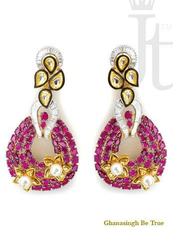 Earrings: Multiple strings of Burmese #rubies have been combined with south sea pearls, in different shapes and sizes to create classic but stylish earrings.| #womensjewelry #beautiful #earrings