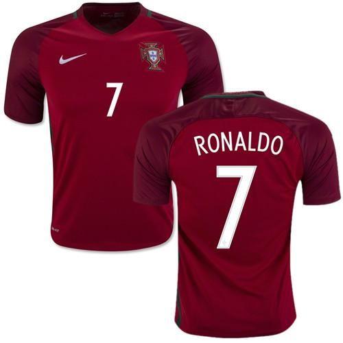 Cristiano Ronaldo 7 Portugal Men's New Euro 2016 Home Soccer Jersey