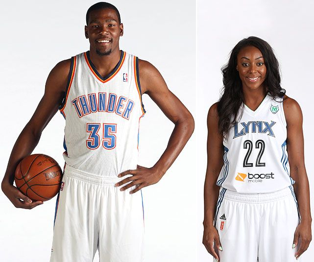 Thunder All-Star forward Kevin Durant is engaged to marry Monica Wright, a guard for the WNBA's Minnesota Lynx. Wright confirmed the engagement after scoring a season-high 17 points in Minnesota's 91-59 victory over Phoenix on Sunday, July 8, 2013. (Layne Murdoch, David Sherman/NBAE via Getty Images) GALLERY: Athlete Couples