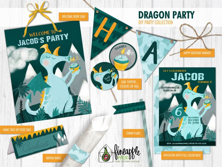Dragon Birthday, Dragon Birthday Invite, Boy Birthday, Dragon Party, Dragon Invitation, cupcake, teal, orange, Dragon by FineapplePair on Etsy