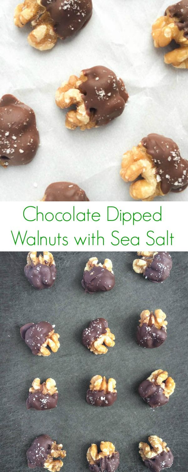 Chocolate Dipped Walnuts with Sea Salt - Use sugar free chocolate to make this low carb or keto!