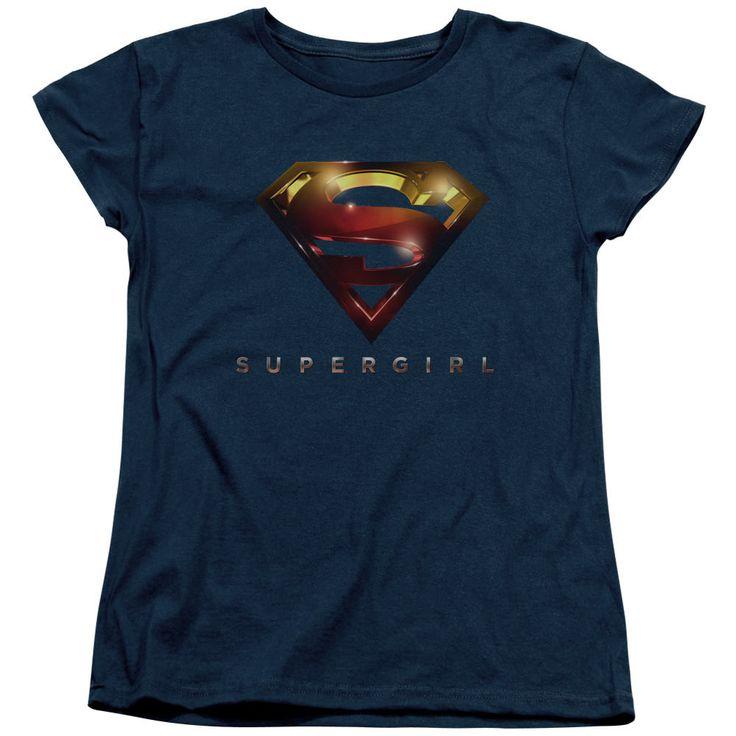 Supergirl Logo Glare Navy Womens T-Shirt