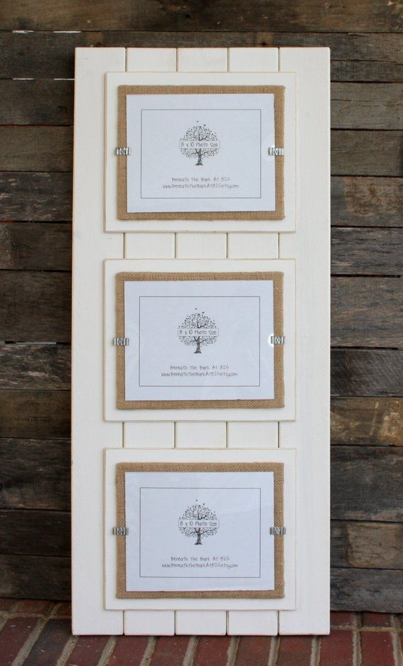 collage frame holds 3 photos Distressed wood picture frame triple 8x10 double mat