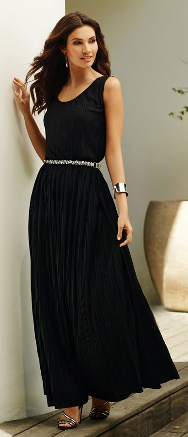 The dramatic arts: Turn heads with a billowy pleated dress. Pair with a bling belt to take it from day to night.