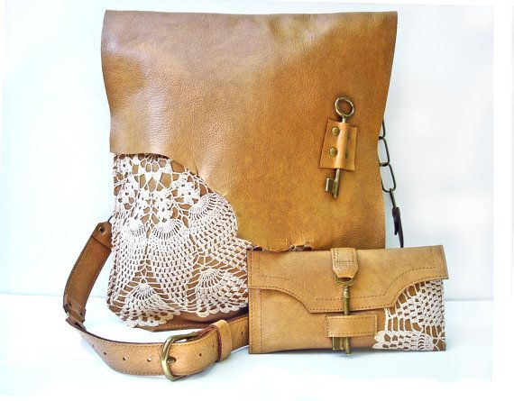 XL Leather Boho Messenger Bag & Credit Card von UrbanHeirlooms