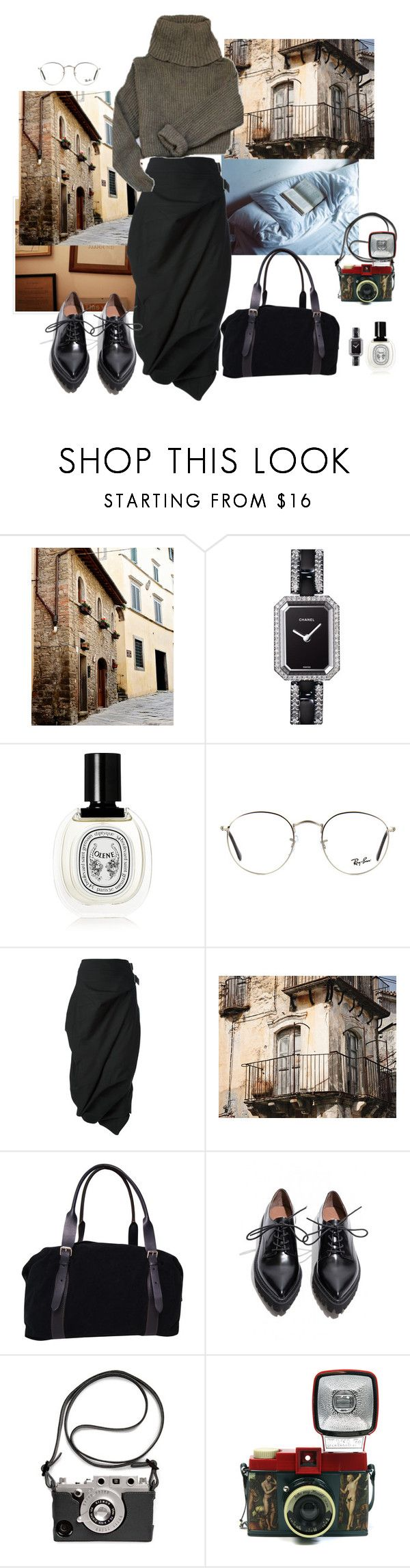 """""""fighting jet lag in Italy"""" by syarina ❤ liked on Polyvore featuring Chanel, Diptyque, Ray-Ban, Junya Watanabe, WALL, Margaret Howell and Lomography"""