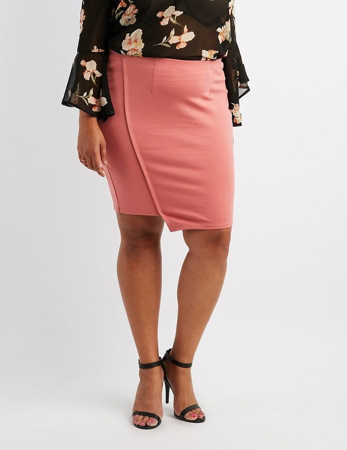 Charlotte Russe Plus Size Mini Asymmetrical Wrap Skirt