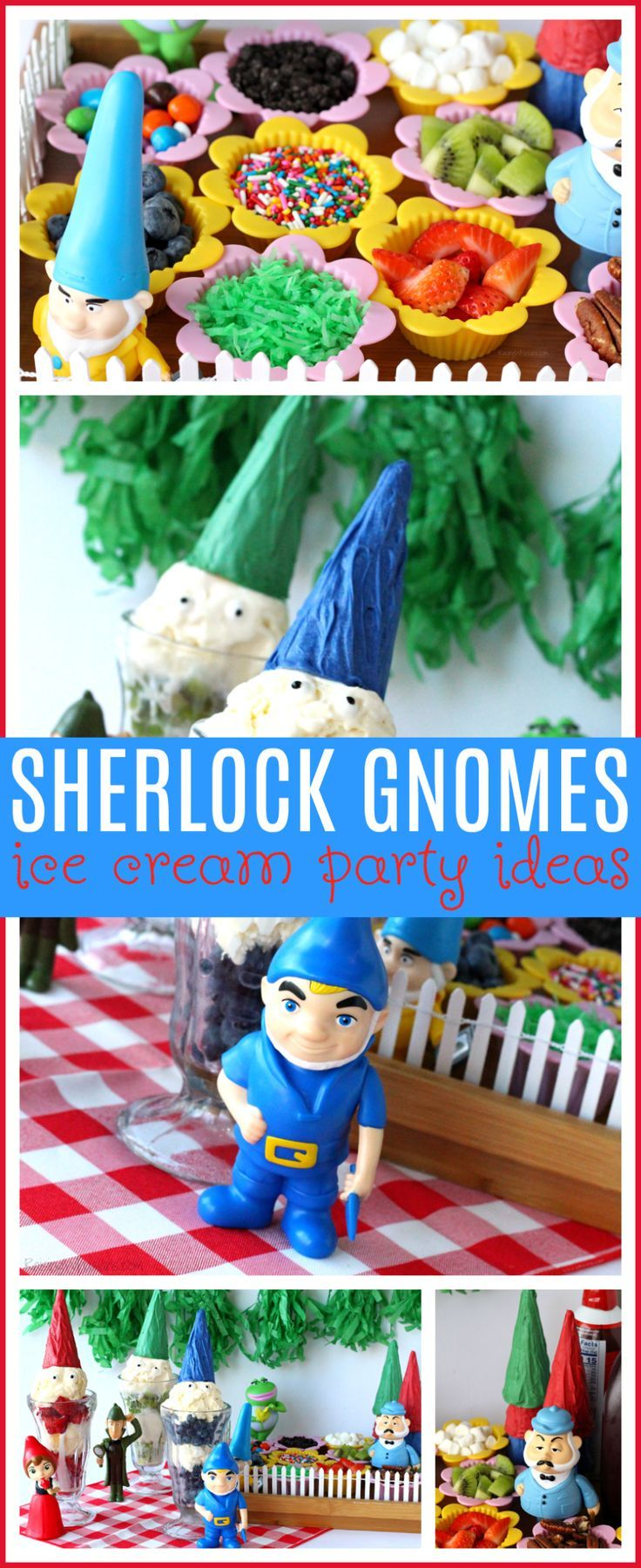 Sherlock Gnomes Ice Cream Party Ideas | Celebrate the new Sherlock Gnomes movie in theaters on March 23 with these fun kids party ideas  via @raisingwhasians (AD)
