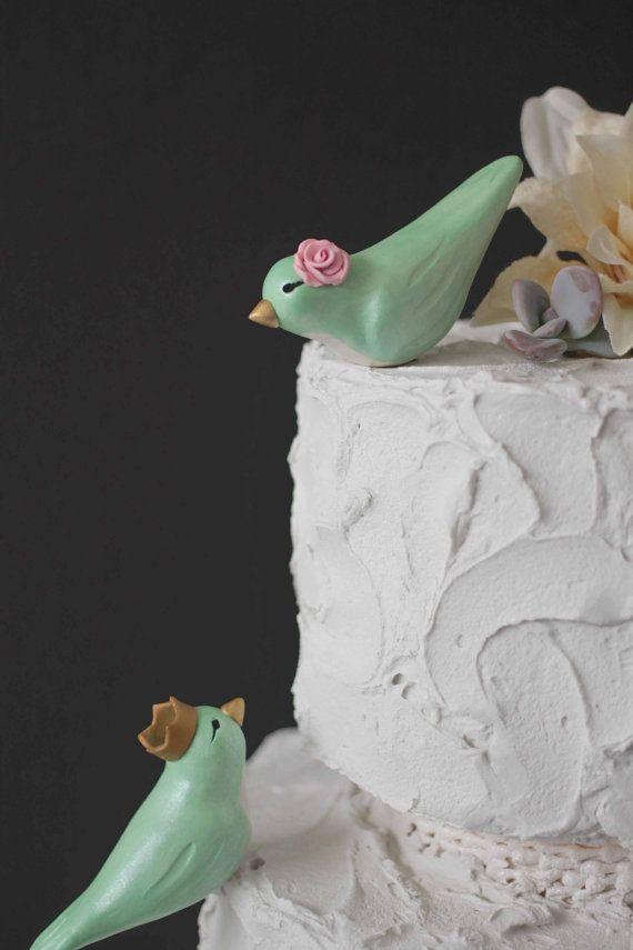 Mint grün Lovebirds mit Kronen - benutzerdefinierte Vögel Hochzeit Kuchen Spitzenwerken on Etsy, 45,30 €