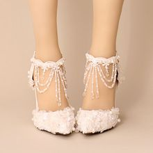 Лето новое прибытие 2015 белый жемчуг кристалл цепь свадебные туфли ремень острым носом женские сандалии 9 см каблук(China (Mainland))