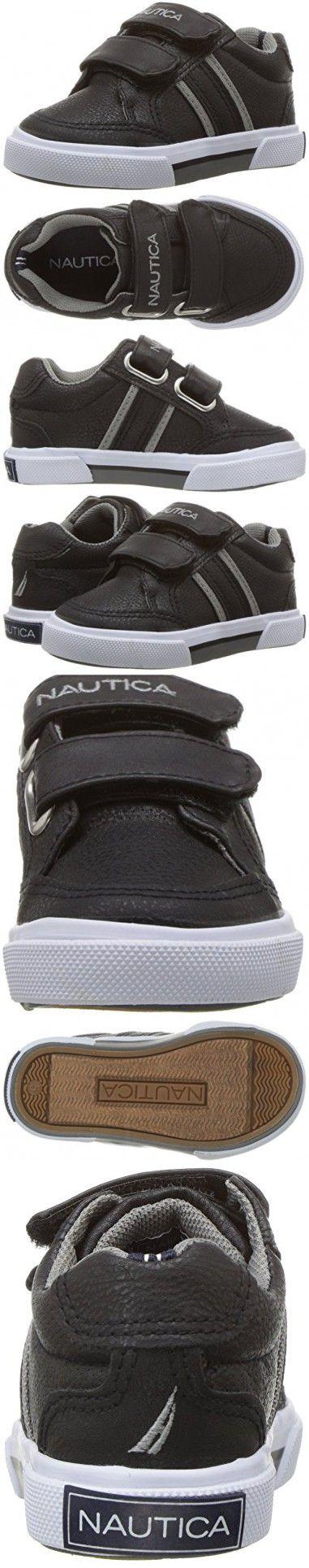 Nautica Boys' Hull PU Sneaker, Black/Grey Polyurethane, 5 M US Toddler