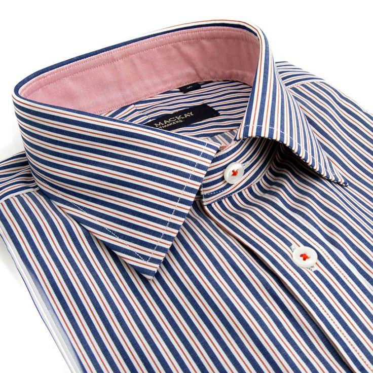 Blue and Red Mansfeilds Stripe Contemporary Fit- Button Cuff http://www.spierandmackay.com/