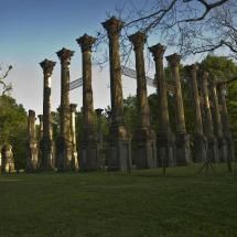 Windsor ruins, Mississippi. The Windsor Ruins are located in Claiborne County in the U.S. state of Mississippi, about 10 miles southwest of Port Gibson near Alcorn State University. The ruins are those of the largest antebellum Greek Revival mansion built in the state, and have been used in various motion pictures.