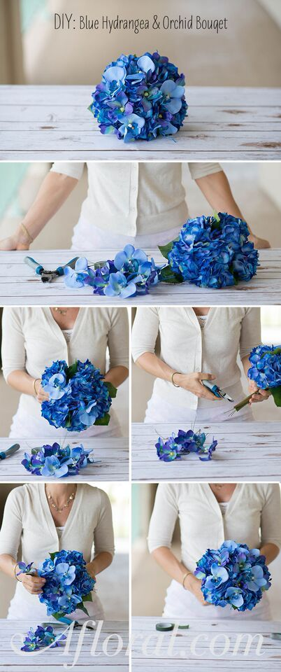 Make your bridal bouquet with a pre-made silk flower bouquet and your favorite stems.  It is a simple DIY wedding project.  All you need to do it add the stems to the pre-made bouquet and fasten with floral tape.  Wrap the stems with your favorite ribbon and you have your own handmade bouquet.