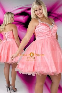 #Plus #Size #Cocktail #Dresses -  A Line Halter Short Tulle Ruffled Beaded Pink Plus Size Prom Dresses $ 129.99  - Cheappromprom.com