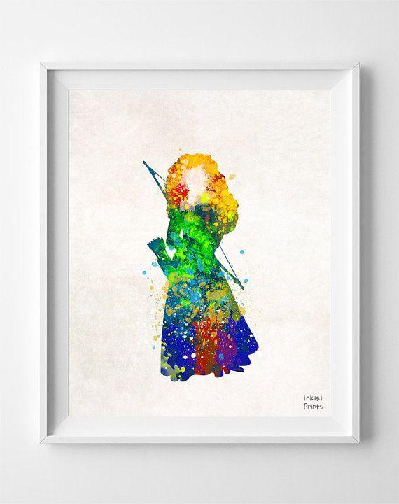 Brave Merida Princess Print Watercolor Disney by InkistPrints