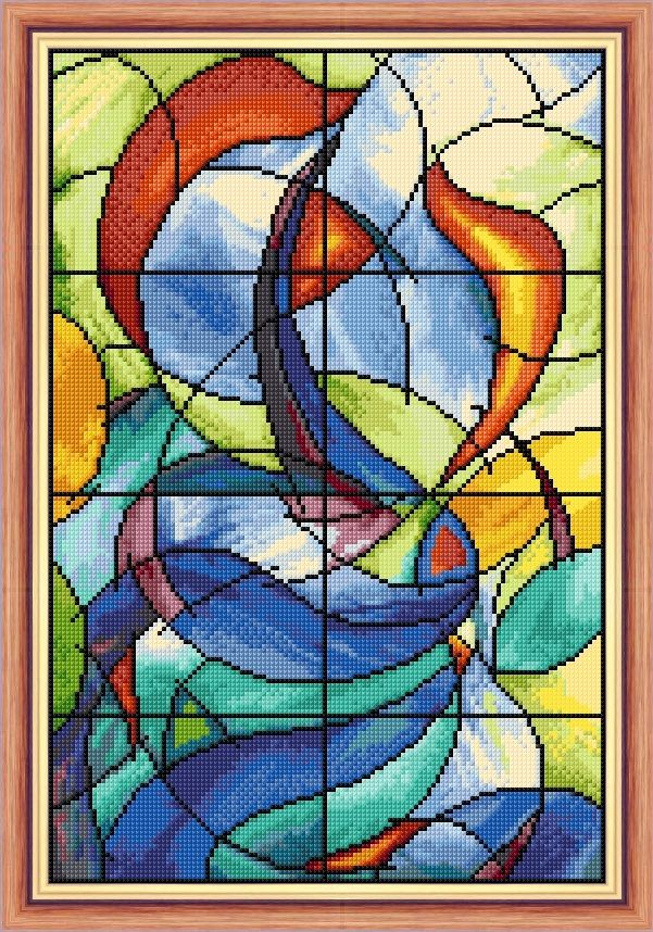 Colourful Stained Glass Window - Cross Stitch Design Design Size 8 x 12 20cm x 30cm Fabric 16 Count White Aida Threads Anchor DMC conversion chart