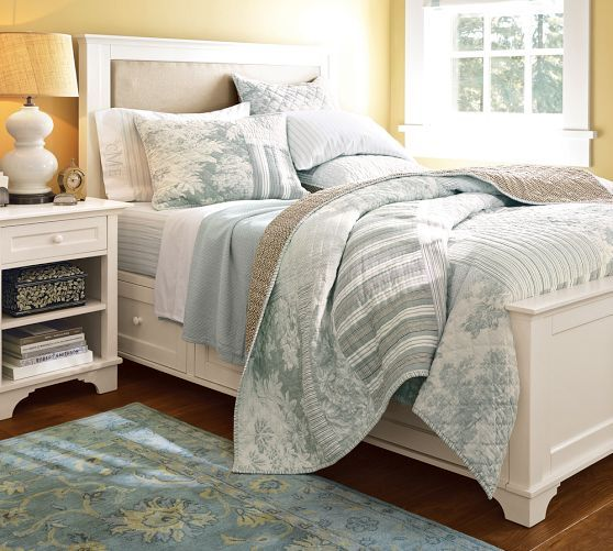 Pottery barn cynthia upholstered storage bed also in dark for Cynthia storage bed