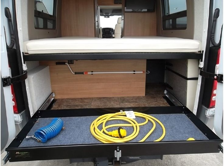 sprinter rv with rear slide out storage - Google Search | Mercedes Sprinter Conversion