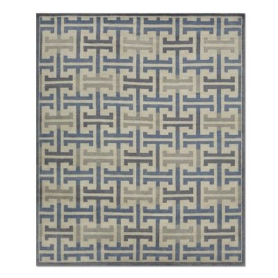 Mykonos Grid Hand Knotted Rug, 8X10', Peacoat