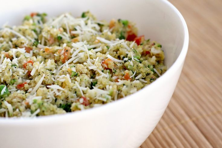 Let's Dish Recipes: CREAMY QUINOA PRIMAVERA - axe the parmesan and use