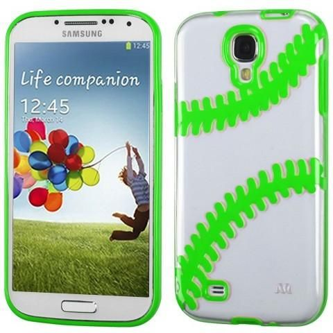 MYBAT Baseball Gummy Cover Galaxy S4 Case - Clear/Green