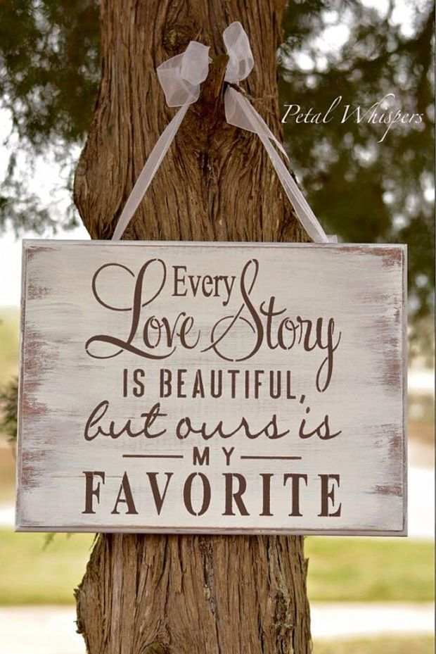 Every Love Story Is Beautiful, Distressed Wedding Decor Sign, Wood Rustic Home Decor Wall Hanging, Love Story Wedding Reception Wooden Sign