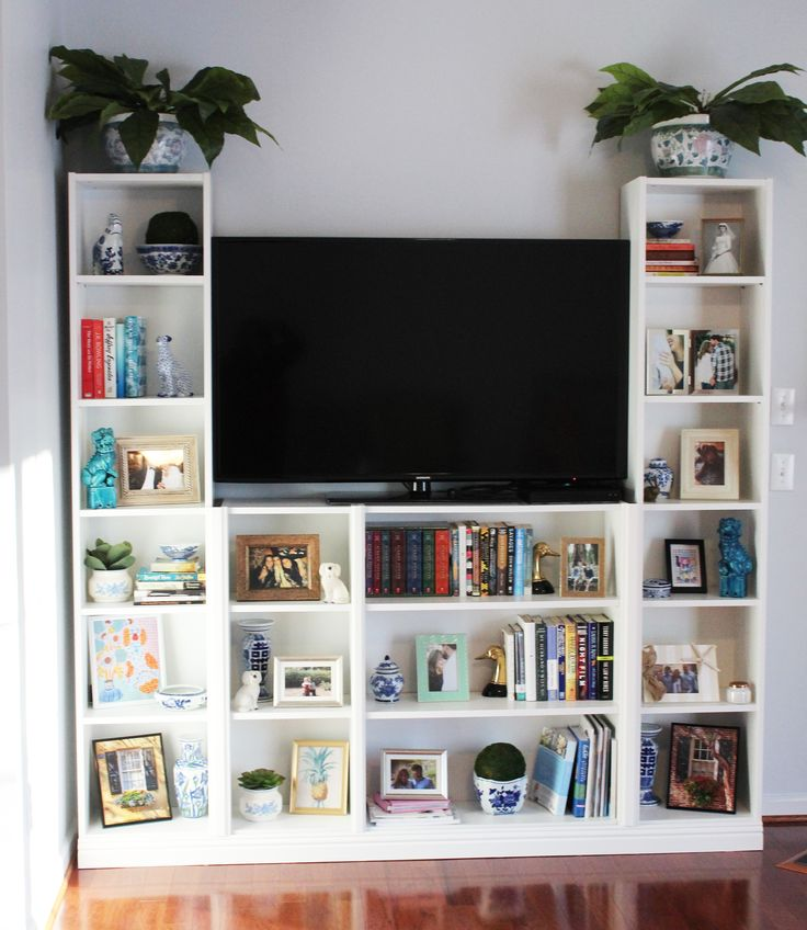 Entertainment center made from Ikea Billy Bookcases – Ikea Hack, Ikea built-ins