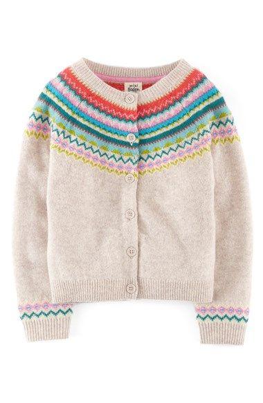 mini boden fair isle cardigan sweater, oatmeal
