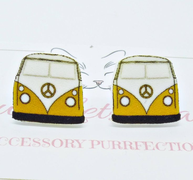 Campervan Studs, VW Beetle Earrings,Car Earrings, Van Studs, Kitsch Earrings, Retro Studs, Quirky Earrings,Gift For Her by PyewacketsPlace on Etsy