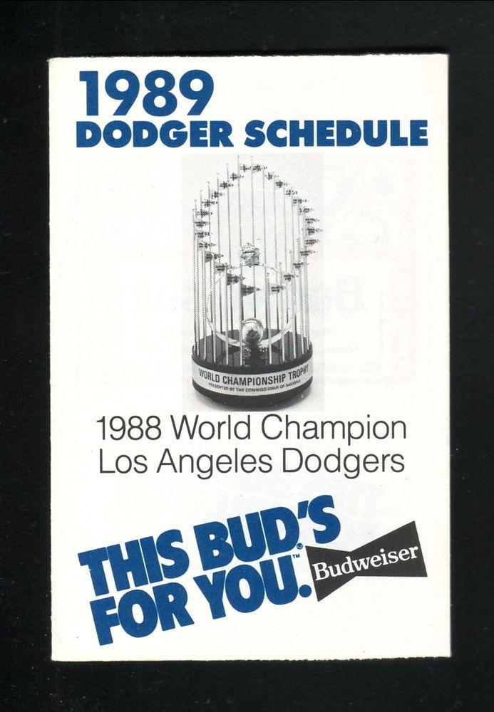 1989 Los Angeles Dodgers Schedule--World Series Trophy--Budweiser #PocketSchedule