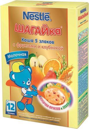 Nestlé Шагайка молочная 5 злаков с фруктами и клубникой (с 12 месяцев) 200 г  — 196р.  Каша молочная Nestle Шагайка 5 злаков с фруктами и клубникой с 12 мес. 200 г. Каша приготовлена с использованием особой технологии бережного расщепления злаков СНЕ. Благодаря этому в продукте появляется естественный сладкий вкус, каша лучше усваивается и имеет повышенную пищевую ценность. Каша является сбалансированным продуктом прикорма для здоровых детей, обогащена витаминами и микроэлементами, содержит…