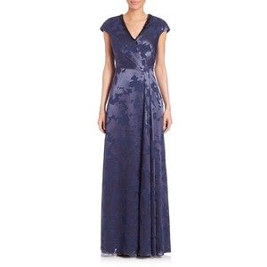 Kay Unger Beaded Neck Floral Gown