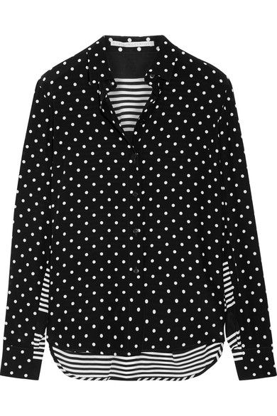 Stella McCartney's polka-dot and striped shirt is an effortless way to incorporate prints into everyday looks. Crafted from lustrous silk crepe de chine, it's cut for a loose fit and has a slightly curved high-low hem that looks especially cool half-tucked into jeans. Team yours with cropped denim and ankle boots at the weekend.