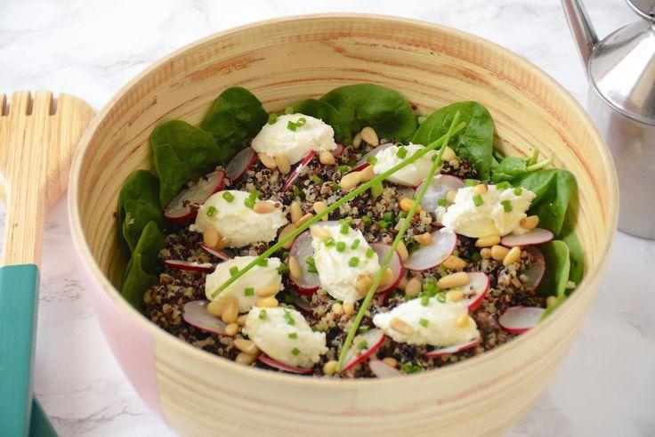 Salade quinoa lentilles au chèvre et aux radis